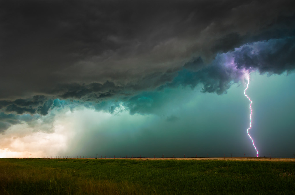Lightning And Green Storm Clouds
