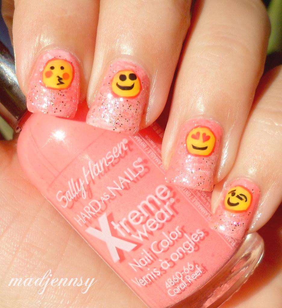 Pink Glittery Emoji Nail Art | Watch HD Nail Tutorial! youtu… | Flickr