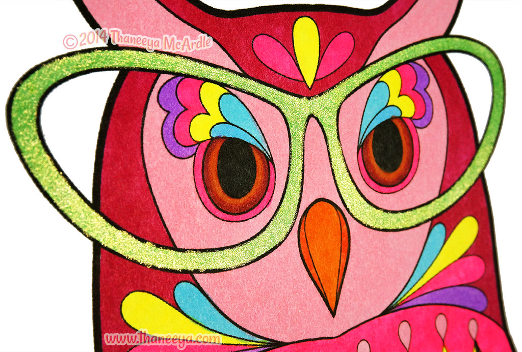 Glam The Librarian Owl Close Up By Thaneeya McArdle