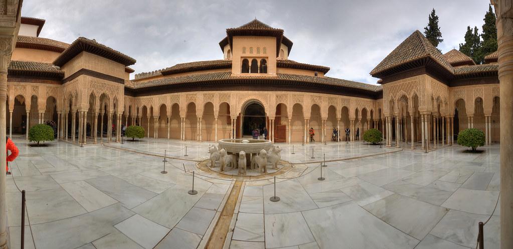 Panoramica Patio De Los Leones La Alhambra Granada Flickr