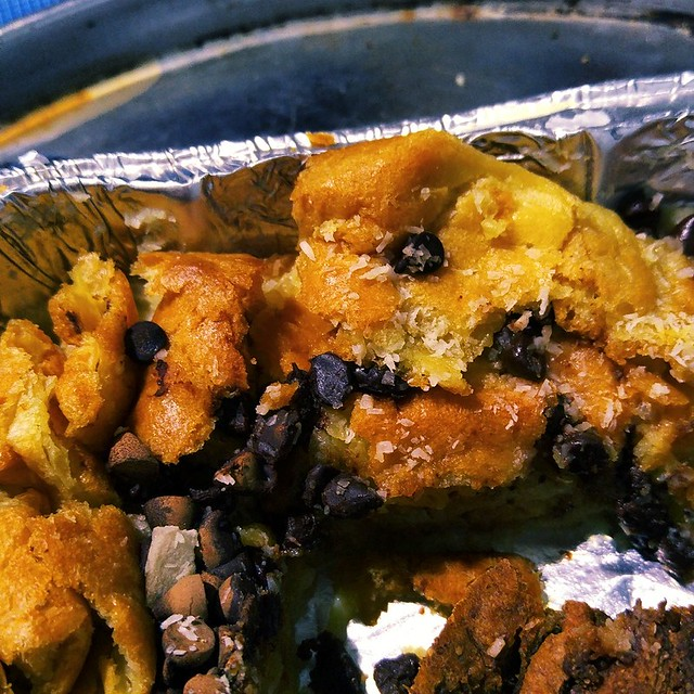 Double Coconut and Chocolate Chip Bread Pudding
