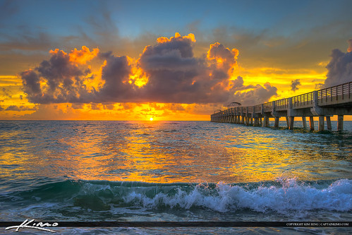 Lake Worth Beach Sunrise with Small Wave | by Captain Kimo