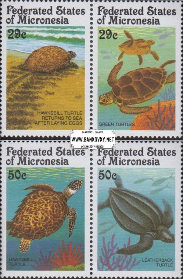 Známky Mikronézia 1991 Morské korytnačky, razítkovaná séria