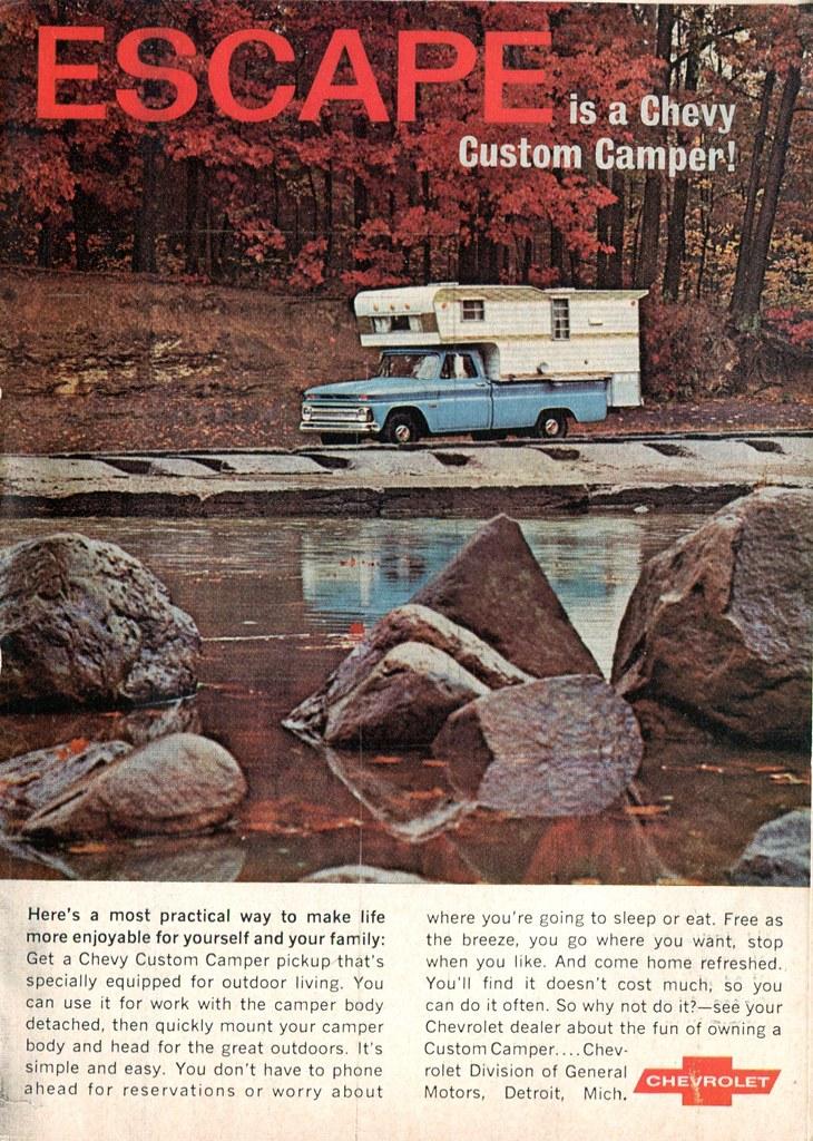 1966 Chevrolet Chevy Custom Camper Pickup Truck Advertisement Readers Digest February