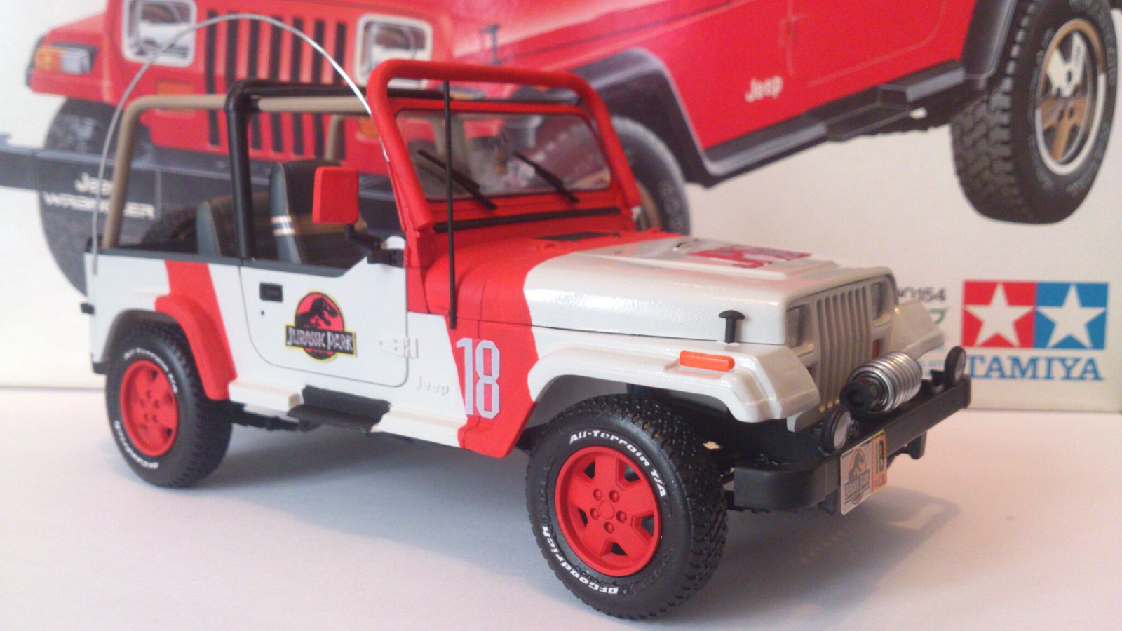 custom jurassic park jeep wrangler open-top 1/24 tamiya toy