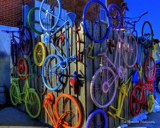 Wall of Colorful Bicycles | by Tom Mortenson
