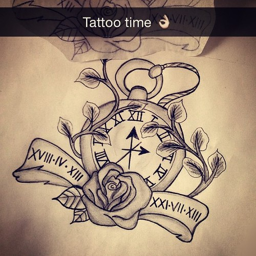 #tattoo #new #ink #pocket #watch #rip #dad #iloveyou #rose