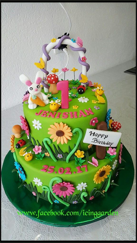 birthday cake garden design cake fondant cake icing cake by shobana shanthakumar - Garden Design Birthday Cake