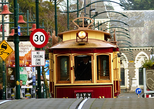 Approaching tram. Christchurch. FZ200 | by Bernard Spragg