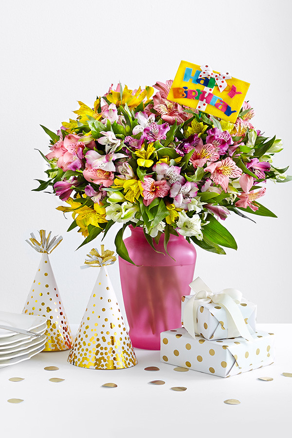 Happy birthday flower bouquet assorted color alstroemeria … | Flickr