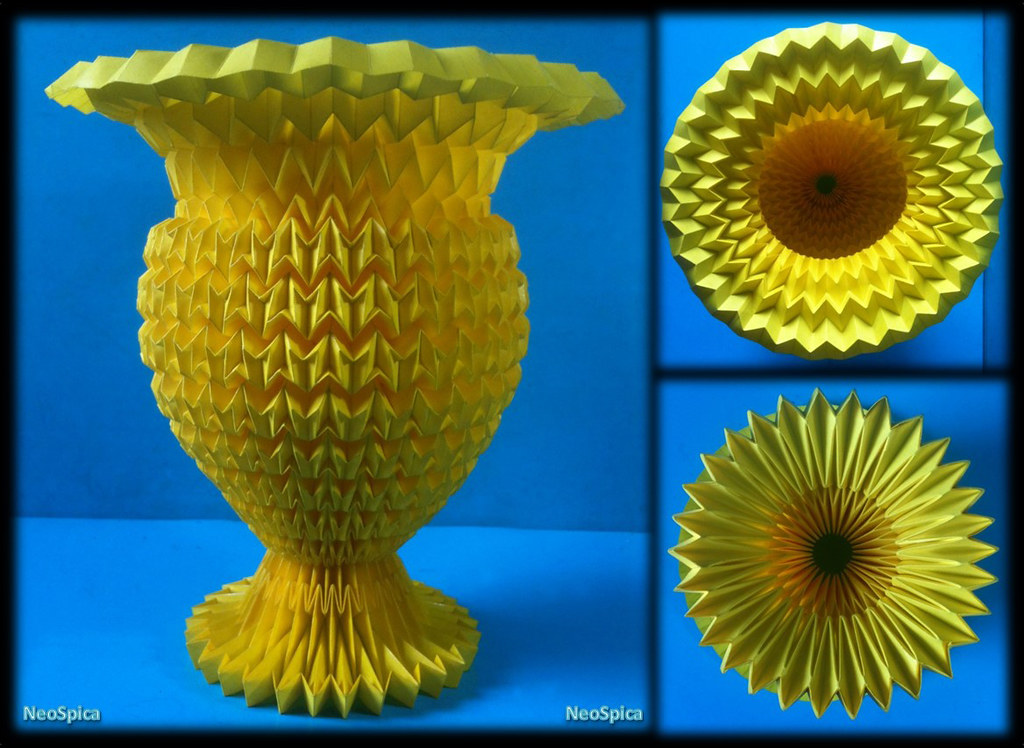 NeoLiveArt Flower Vase Paper With Acrylic Enamel Fold Origami