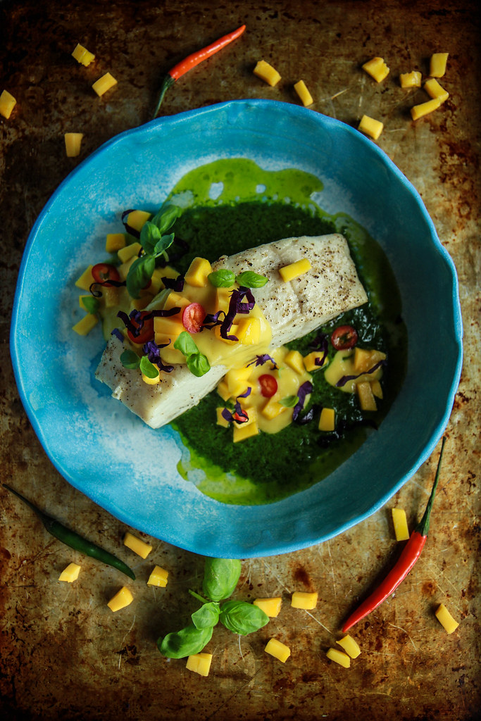 Paleo Grilled Halibut with Mango Sauce and Thai Basil from HeatherChristo