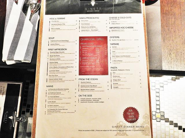 Ginett Restaurant & Wine Bar Menu Appetizers & Mains