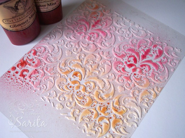 Prima flourish stencil and Glimmer Mists 1