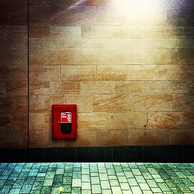 Shot In The Dark Red Green Hydrant Extinguisher Sidewalk Wall