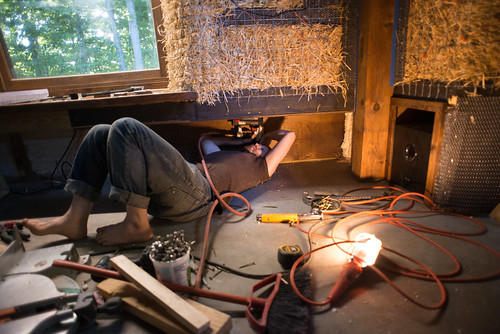 Tyler Brad Nailing Plywood Sheathing in Pony Wall Storage Nook | by goingslowly