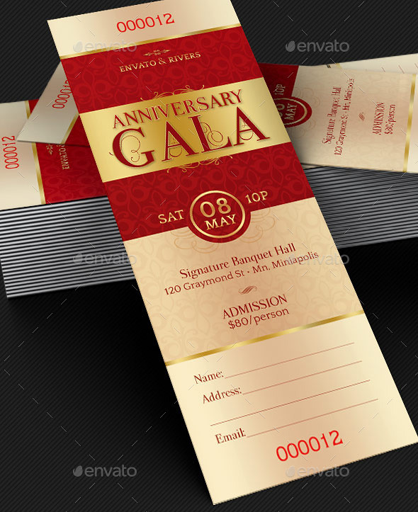 ... Elegant Anniversary Gala Ticket Template | By Godserv  Ball Ticket Template