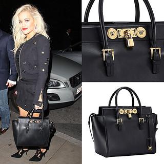 d1db21893c20 ... in Black size 40 090e2 7de9e  Rita Ora toting Versace Signature Lock bag  by Delortae Agency™ ... new style ...