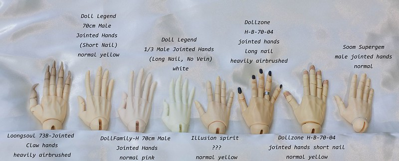 BJD jointed hands comparision