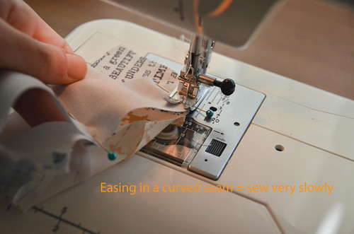9. Sew, easing fabric in. SLOWLY.