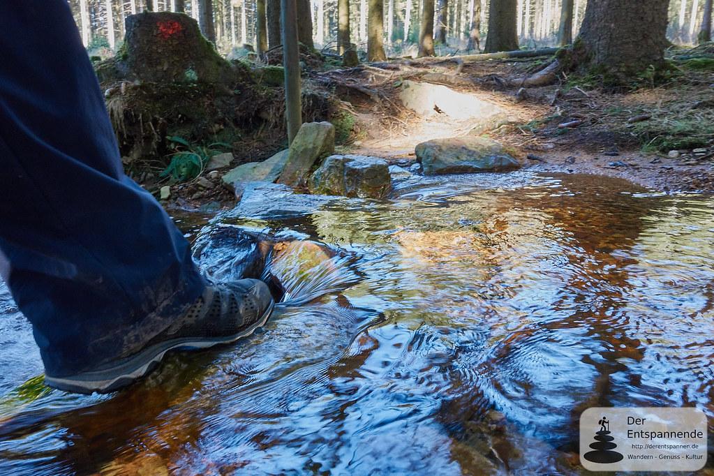 Überqueren des Quellbachs auf dem Trauntal-Höhenweg