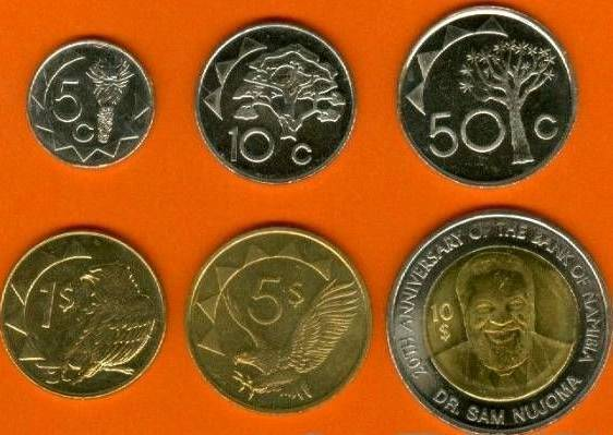 Namíbia 5-10-50 Cents + 1-5-10 Dollars UNC