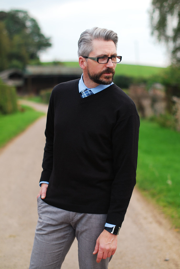 Menswear Shirt Tie And V Neck Sweater Silver Londoner Flickr