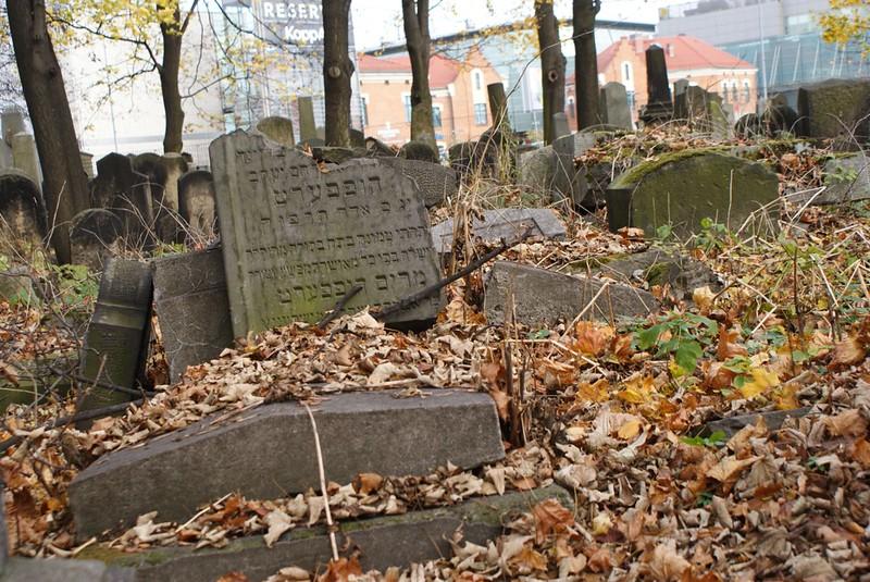 Stèle du nouveau cimetière juif de Cracovie.