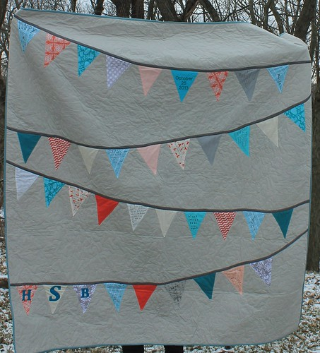 Coral Teal and Gray Bunting Quilt | by DanaK~WaterPenny