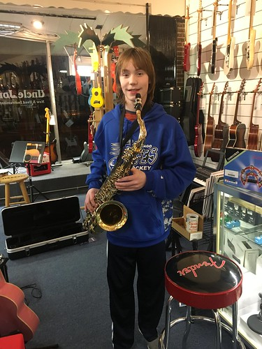Ethan and his new Selmer Tenor Sax