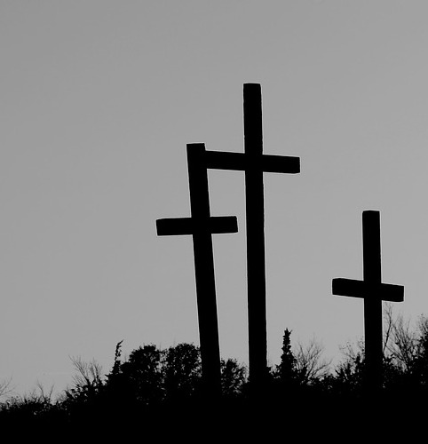Three empty crosses looking forlorn