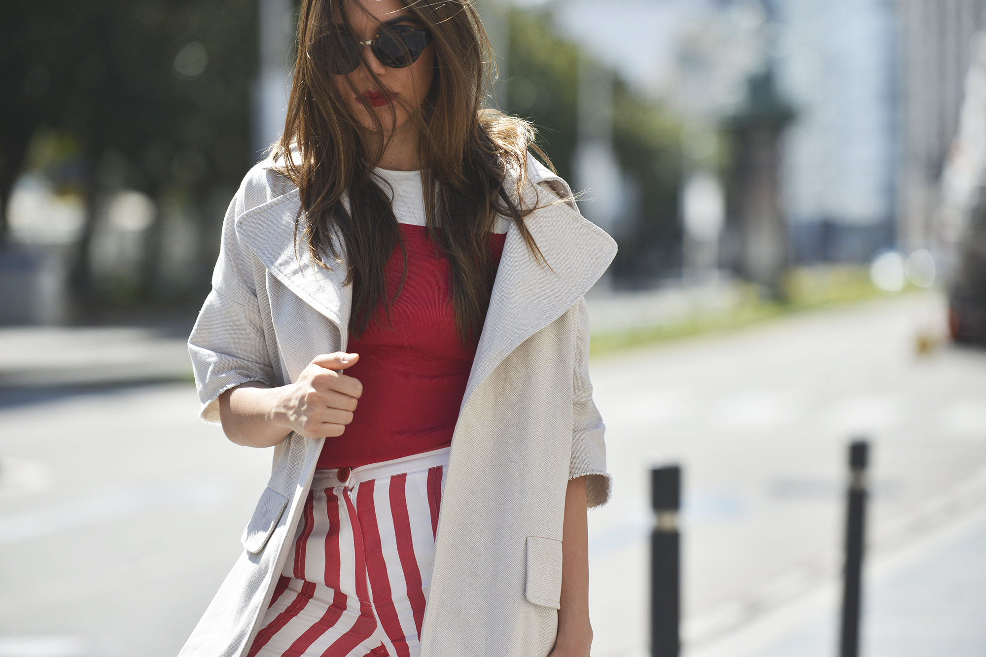 Stripes in red