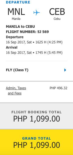 Manila to Cebu Promo September 16, 2017
