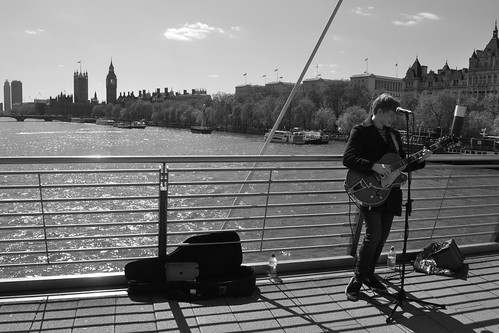Busking in the sunshine in London
