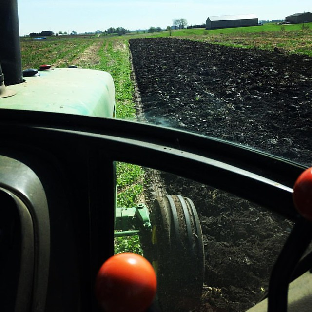 Plow jockey's view. @breslinfarms #spring #greenmanure #covercrop