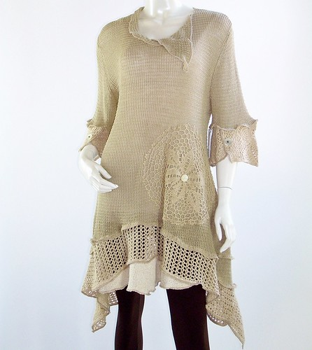 Handmade Upcycled Beige Knit and Crochet Tunic,Lagenlook,Womens Size Large, 12,14 U.S., Linen and Cotton | by brendaabdullah