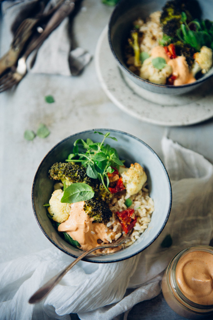 Cumin Roasted Cauliflower & Broccoli with Cheesy Vegan Cashew & Sun Dried Tomato Sauce   Cashew Kitchen