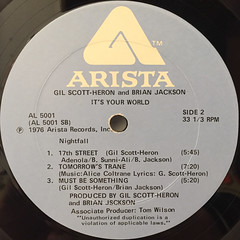 GIL SCOTT-HERON AND BRIAN JACKSON:IT'S YOUR WORLD(LABEL SIDE-B)