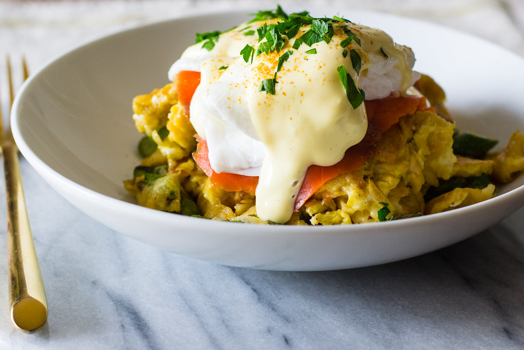 Matzo Brei Eggs Benedict with Lox