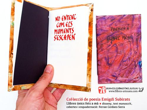 Títol portada en poemari manuscrit d'Emigdi Subirats; Llibres Artesans, 2015