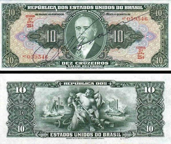 10 Cruzeiros Brazília 1950, P143