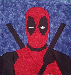 Superhero paper pieced block. DEADPOOL. Pattern on fandominstitches.com Pieced by Hannah Hughes