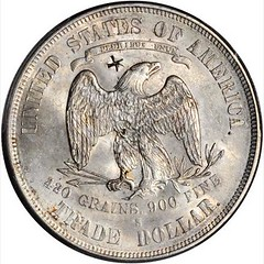 Chopmarked 1874-S Trade Dollar reverse