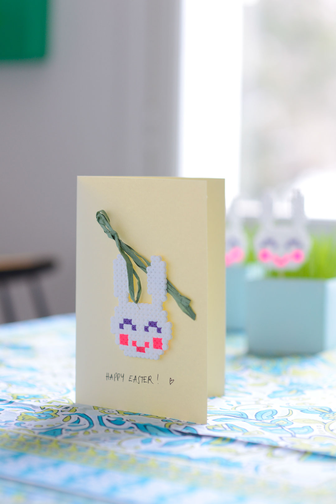 Greeting card with a cute Hama bead bunny
