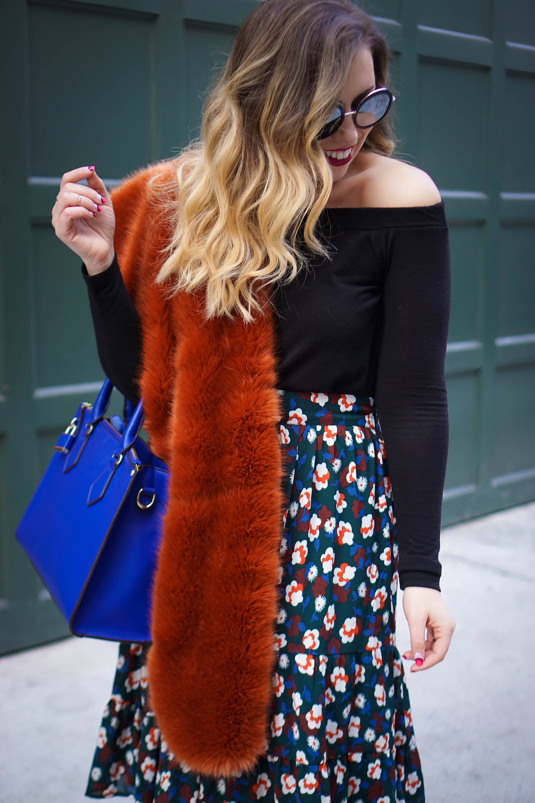 Faux Fur at NYFW | Off the Shoulder Sweater, Burnt Orange Scarf, eShakti Floral Midi Skirt