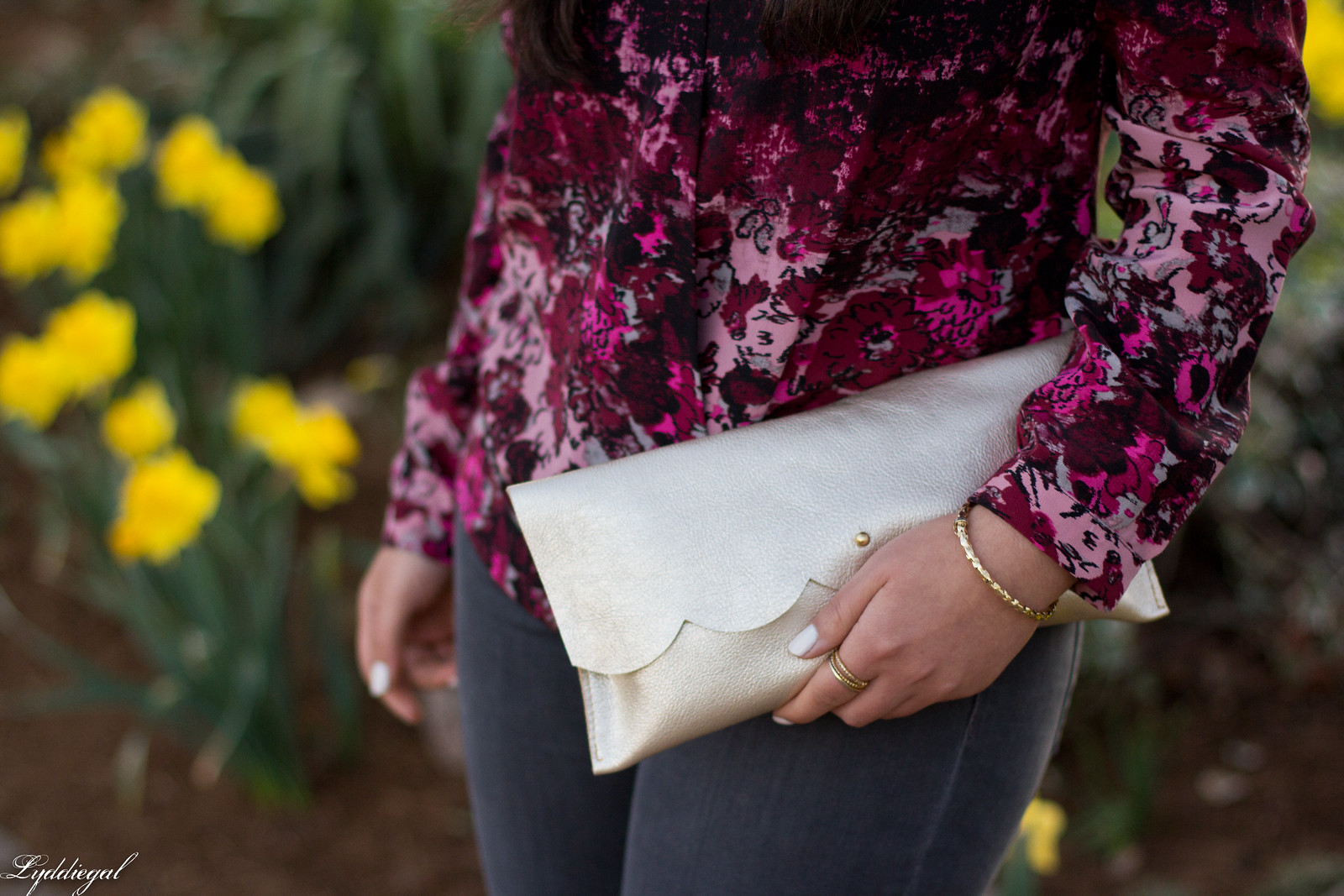 draped silk floral blouse, grey jeans, scalloped matine clutch-7.jpg