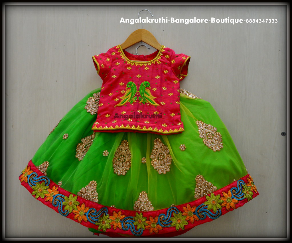 Kids Lehenga Designs With Parrot Hand Embroidery Designs Flickr