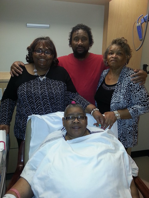 My Aunt battling her sickness.   Her baby brother and 2 of her sister's supporting her.
