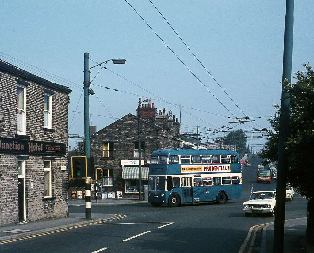 by David Christie Bradford Trolley 834 turns across Eccleshill crossroads.  Aug'70. | by David Christie
