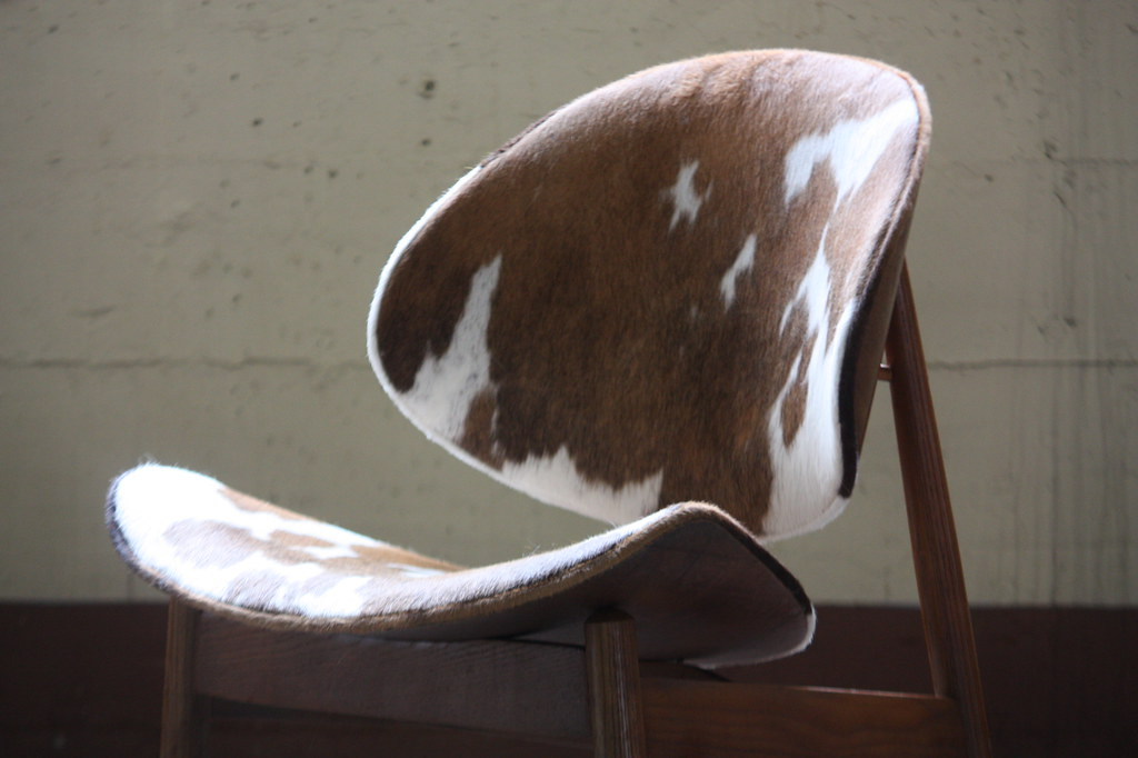 Strange Bold Midcentury Modern Seymour J Weiner Cowhide Clam Chair Evergreenethics Interior Chair Design Evergreenethicsorg